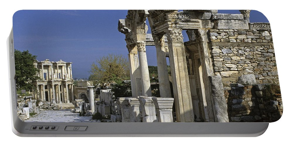 Turkey Portable Battery Charger featuring the photograph Historic Ephesus by Michele Burgess