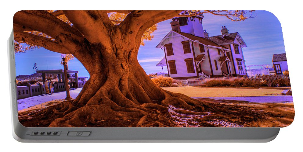 Art Portable Battery Charger featuring the photograph Historic Fermin Point Lighthouse In Infrared by Randall Nyhof