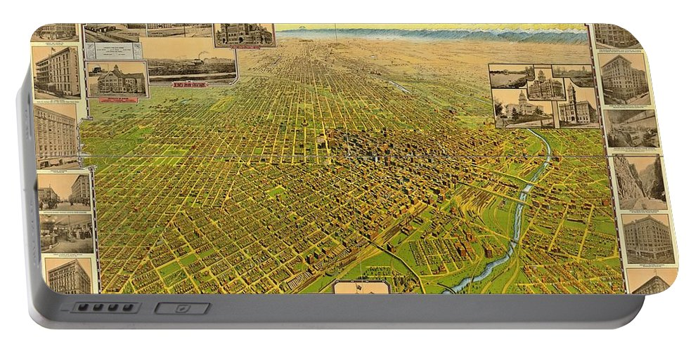 Historic Map Of Denver Portable Battery Charger featuring the photograph Historic Map Of Denver by Pd