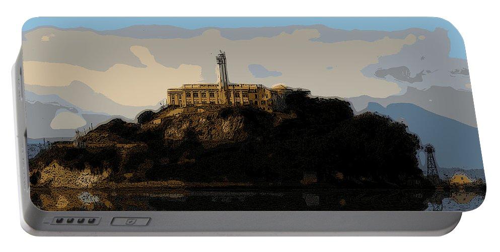Alcatraz Portable Battery Charger featuring the digital art Historic Prison by Michael Bergman