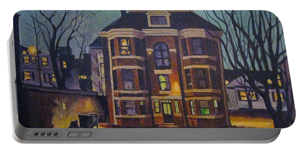 Moody Portable Battery Charger featuring the painting Historic Property South End Haifax by John Malone