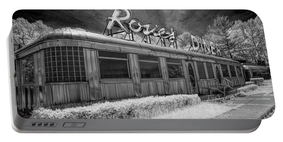 Art Portable Battery Charger featuring the photograph Historic Rosie's Diner In Black And White Infrared by Randall Nyhof