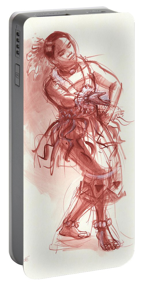 Dancer Portable Battery Charger featuring the drawing Hiva, Dancer Of Tonga by Judith Kunzle