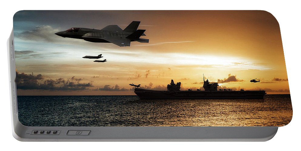 Hms Queen Elizabeth Portable Battery Charger featuring the digital art Hms Queen Elizabeth by Airpower Art