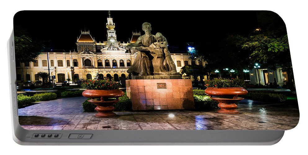 Ho Chi Minhm City Portable Battery Charger featuring the photograph Ho Chi Minh City Hall At Night by Andrew Matwijec