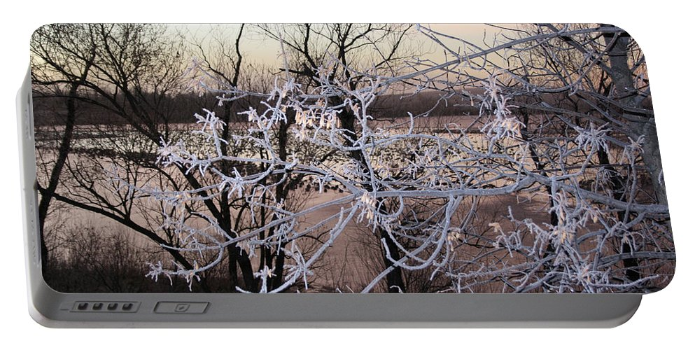 Hoar Frost Trees Lake Water Autumn Winter Ice White Cold Portable Battery Charger featuring the photograph Hoar Frost by Andrea Lawrence