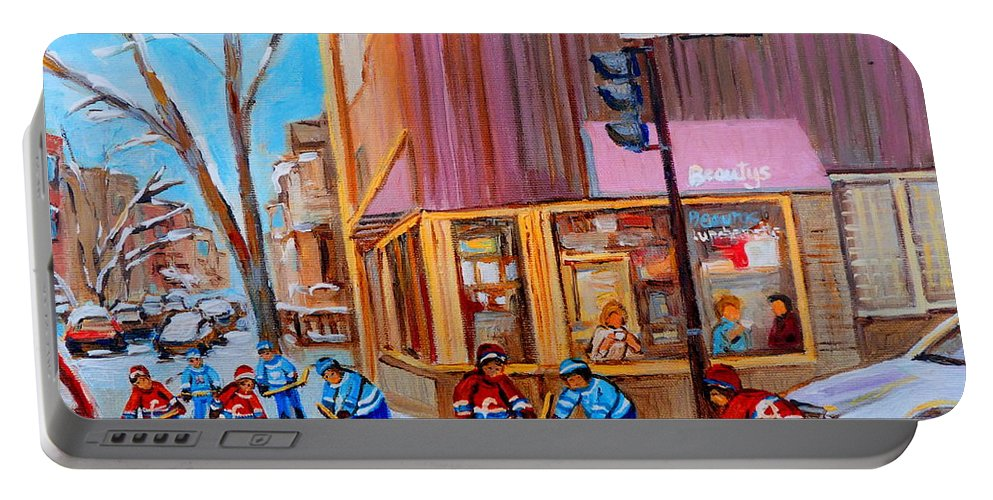 Beautys Luncheonette. Portable Battery Charger featuring the painting Hockey At Beautys Deli by Carole Spandau