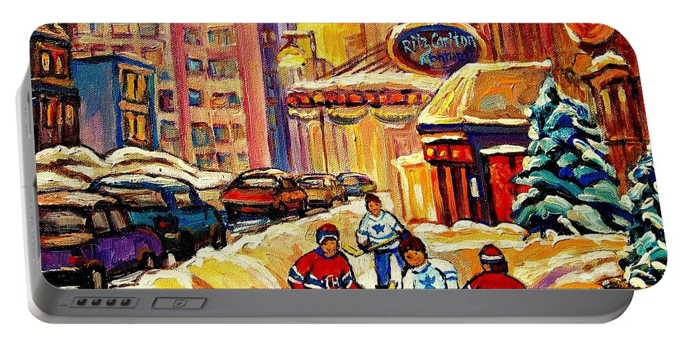Ritz Carlton Portable Battery Charger featuring the painting Hockey Fever Hits Montreal Bigtime by Carole Spandau