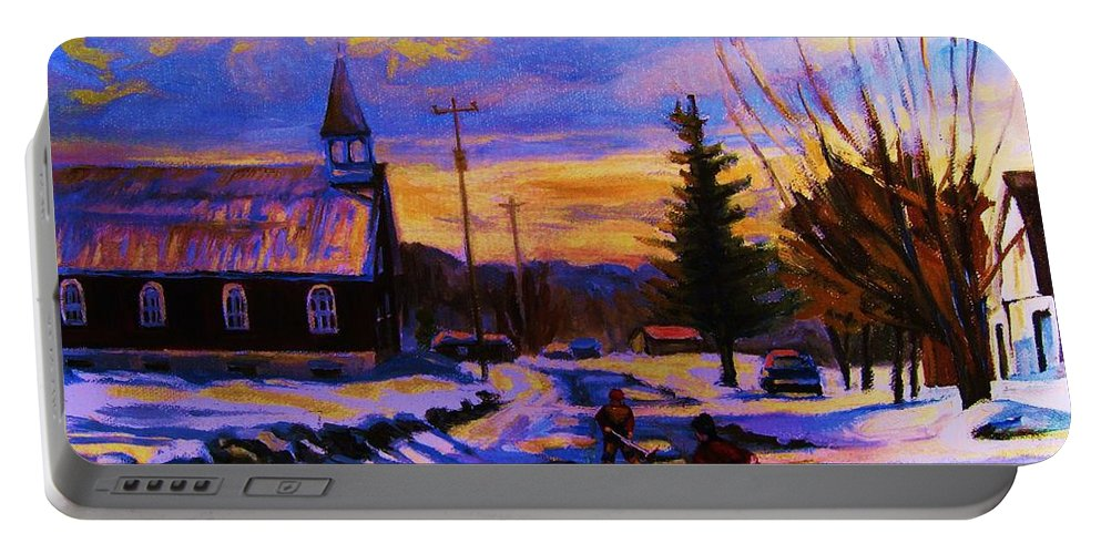 Montreal Portable Battery Charger featuring the painting Hockey Game In The Village by Carole Spandau