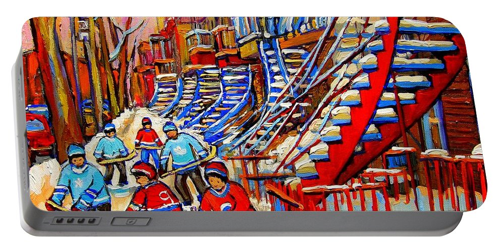 Montreal City Portable Battery Charger featuring the painting Hockey Game Near The Red Staircase by Carole Spandau