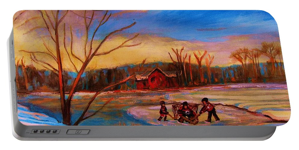 Pond Hockey Portable Battery Charger featuring the painting Hockey Game On Frozen Pond by Carole Spandau