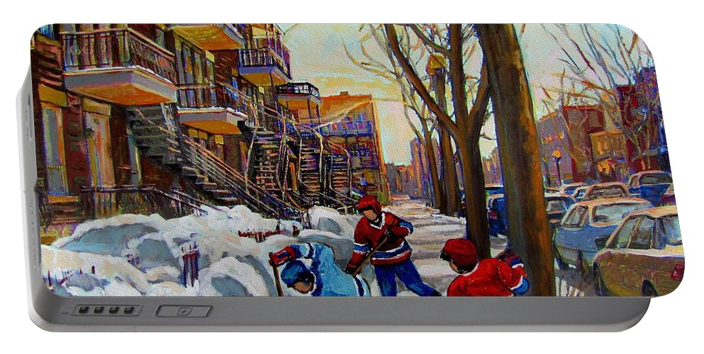 Hockey Canvas Prints Portable Battery Charger featuring the painting Hockey On De Bullion by Carole Spandau