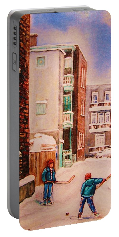Hockey Portable Battery Charger featuring the painting Hockey Practice by Carole Spandau