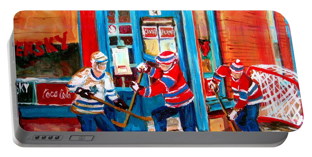 Wilenskys Portable Battery Charger featuring the painting Hockey Sticks In Action by Carole Spandau