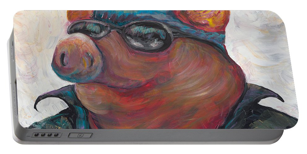 Hog Portable Battery Charger featuring the painting Hogley Davidson by Nadine Rippelmeyer