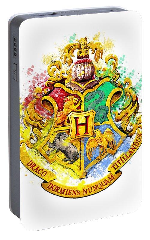 Hogwarts Crest Harry Potter Hogwarts Castle Paint Harry Potter Art Portable Battery Charger featuring the digital art Hogwarts Crest by Midex Planet