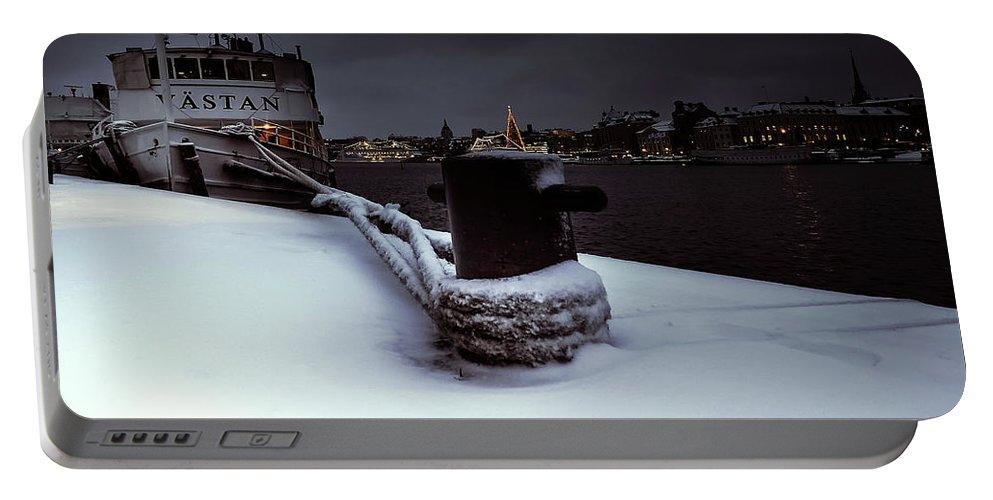 Blue Hour Stockholm Portable Battery Charger featuring the photograph Hold On Winter by Mikael Jenei