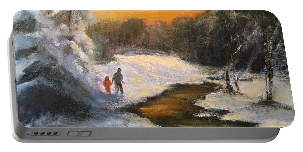 Snow Portable Battery Charger featuring the painting Holding My Father's Hand by Gail Kirtz