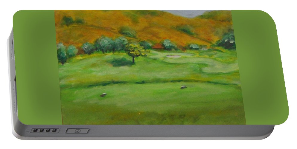 Golf Portable Battery Charger featuring the painting Hole 4 Outward Bound by Shannon Grissom