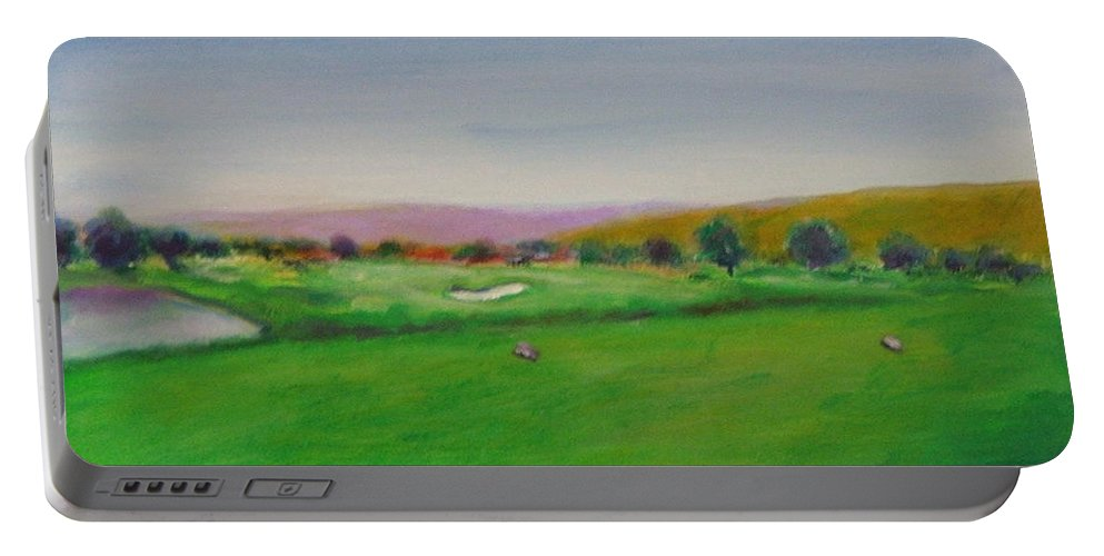 Golf Portable Battery Charger featuring the painting Hole 7 Of Mice And Men by Shannon Grissom