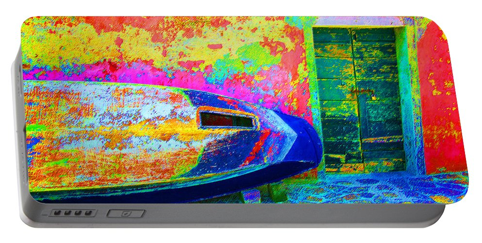 Digital Pastel Portable Battery Charger featuring the digital art Hole In The Boat by Donna Corless