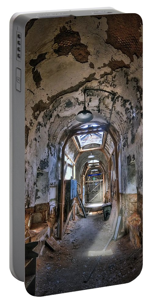 Abandoned Portable Battery Charger featuring the photograph Holes In The Walls by Evelina Kremsdorf