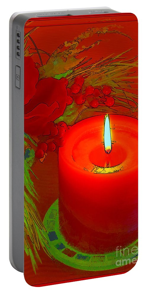 Greeting Card Portable Battery Charger featuring the digital art Holiday Greeting Card Cartoon by Teresa Zieba