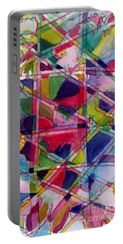 Abstract Portable Battery Charger featuring the painting Holiday Rush by Jan Bennicoff