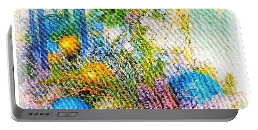 Blue Portable Battery Charger featuring the photograph Holiday Vignette 2 by Diane Lindon Coy