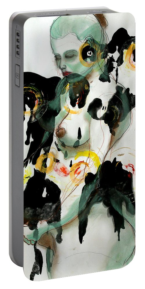 Drawing Portable Battery Charger featuring the painting Holistic Gestation 1 by Gideon Cohn