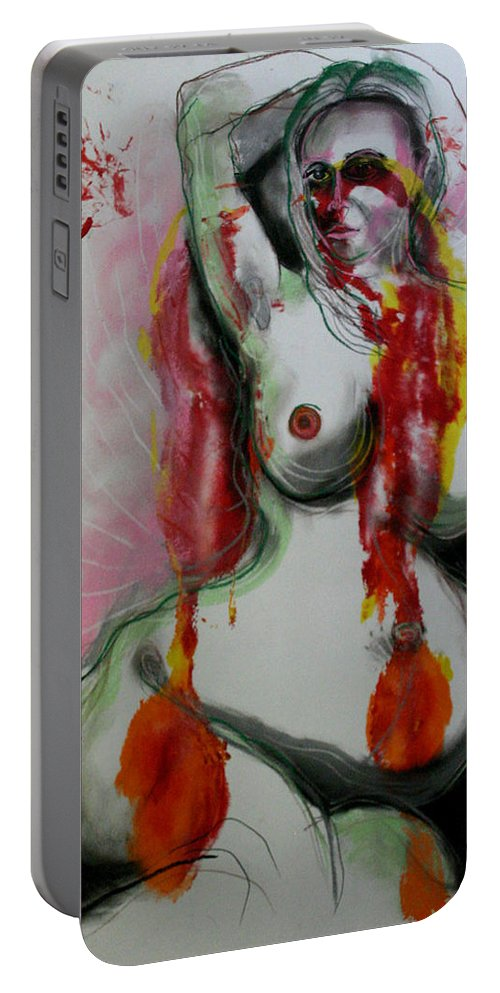 Drawing Portable Battery Charger featuring the painting Holistic Gestation Iv by Gideon Cohn