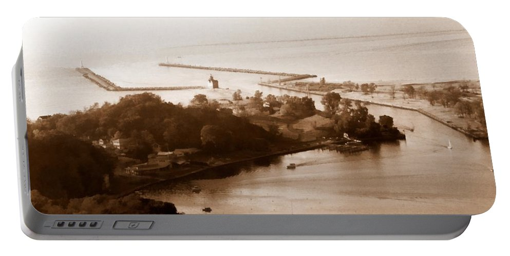 Holland Portable Battery Charger featuring the photograph Holland Michigan Harbor Big Red Aerial Photo by Michelle Calkins