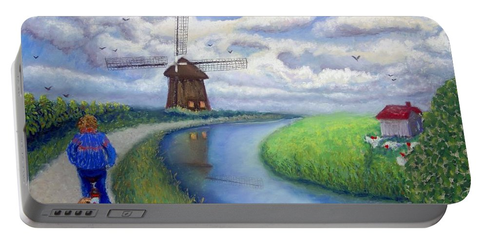 Biking Portable Battery Charger featuring the painting Holland Windmill Bike Path by Minaz Jantz
