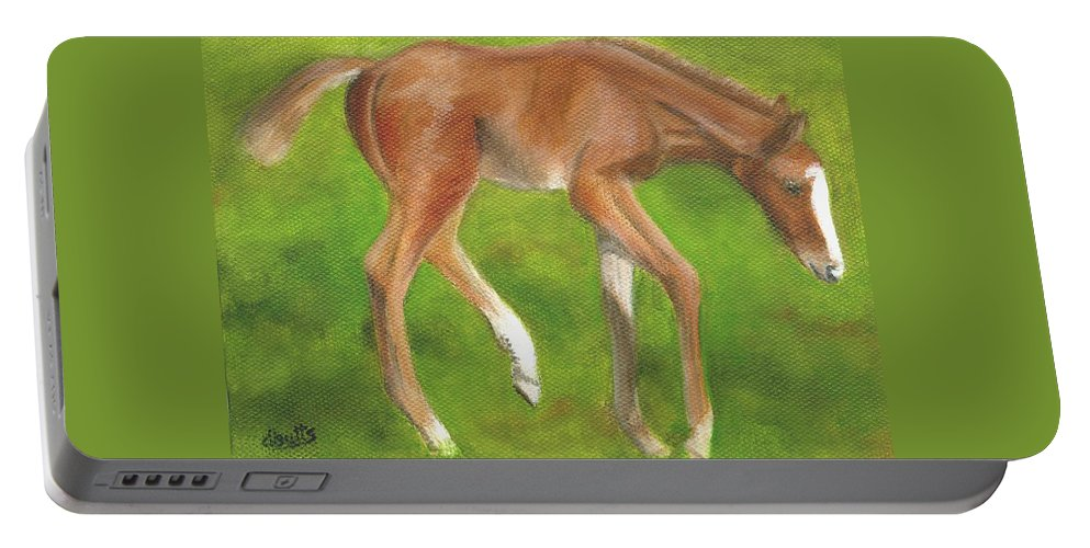 Horse Paintings Portable Battery Charger featuring the painting Holly by Deborah Butts