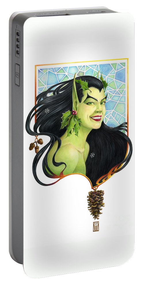 Acorn Portable Battery Charger featuring the mixed media Holly Elf by Melissa A Benson