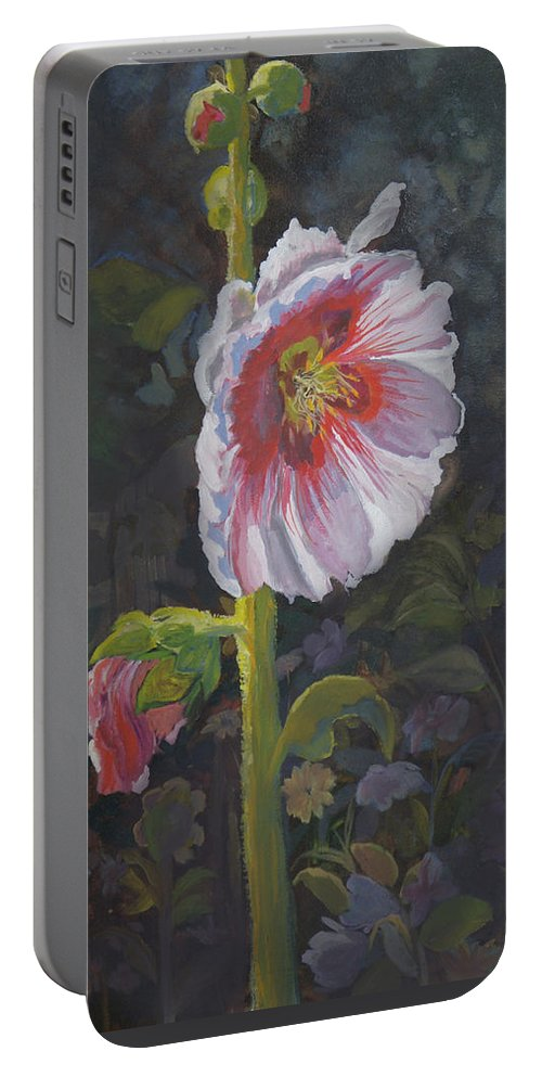Flower Portable Battery Charger featuring the painting Hollyhock by Heather Coen