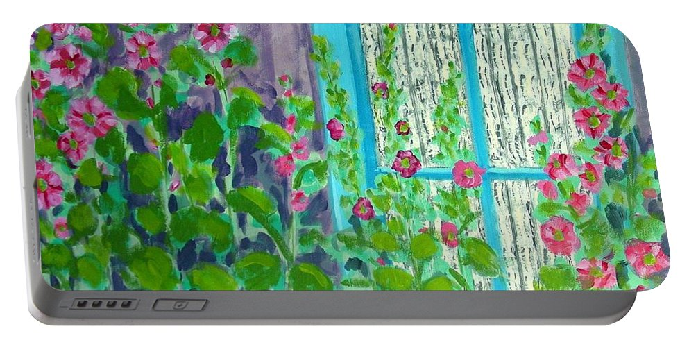Hollyhocks Portable Battery Charger featuring the painting Hollyhock Surprise by Laurie Morgan