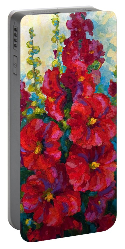 Floral Portable Battery Charger featuring the painting Hollyhocks by Marion Rose