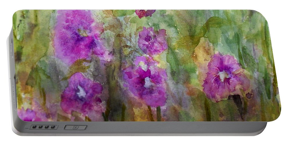 Flower Portable Battery Charger featuring the painting Hollyhocks by Vicki Housel