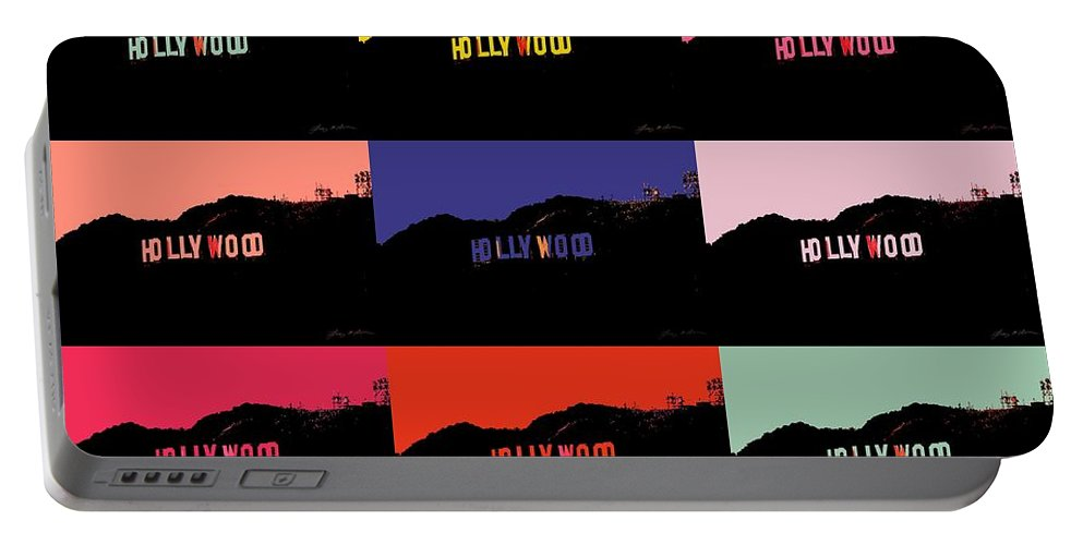 Hollywood Portable Battery Charger featuring the digital art Hollywood Poster Art by Tommy Anderson