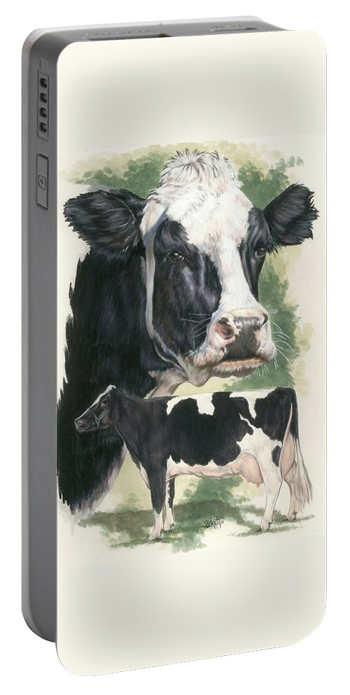 Cow Portable Battery Charger featuring the mixed media Holstein by Barbara Keith