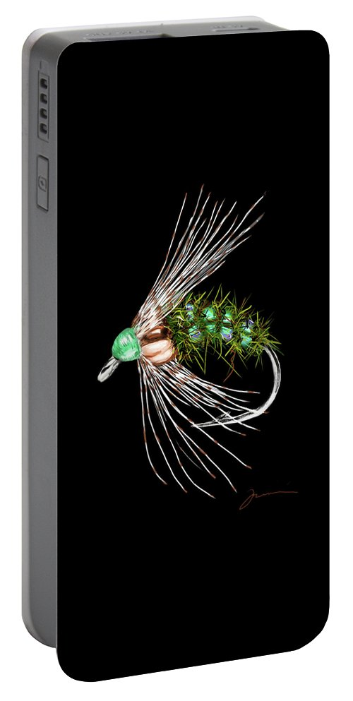 Fly Portable Battery Charger featuring the painting Holy Grail by Jean Pacheco Ravinski