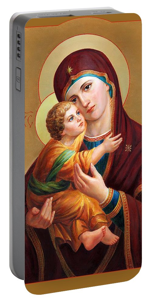 Altar Portable Battery Charger featuring the painting Holy Mother Of God - Blessed Virgin Mary by Svitozar Nenyuk