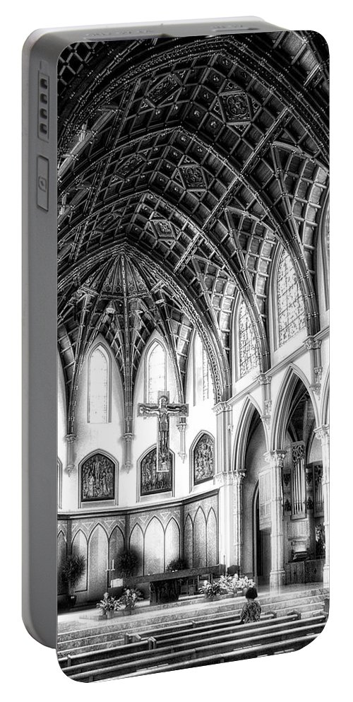 Holy Name Cathedral Portable Battery Charger featuring the photograph Holy Name Cathedral Chicago Bw 03 by Thomas Woolworth