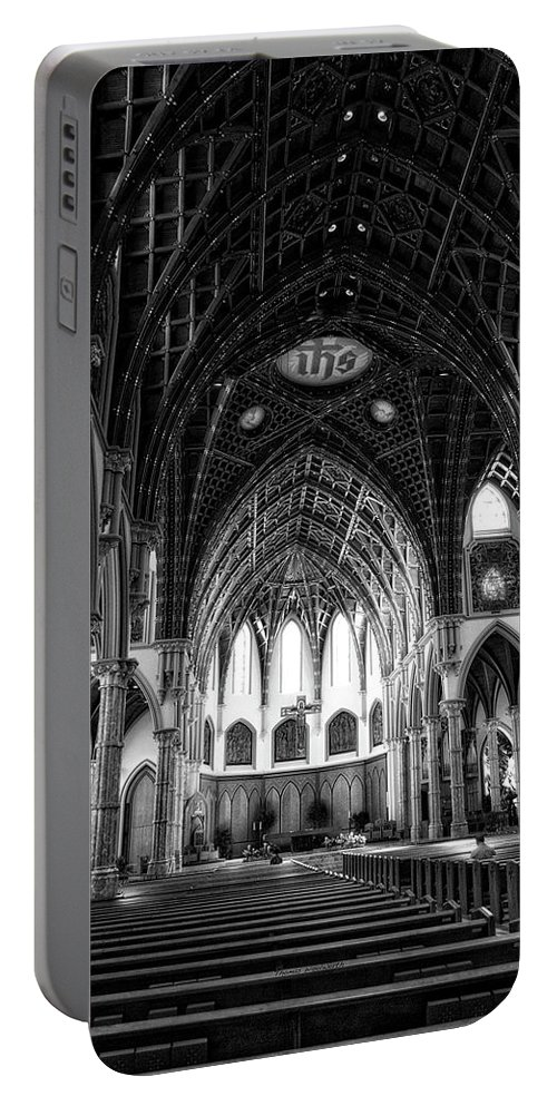 Holy Name Cathedral Portable Battery Charger featuring the mixed media Holy Name Cathedral Chicago Bw 04 by Thomas Woolworth