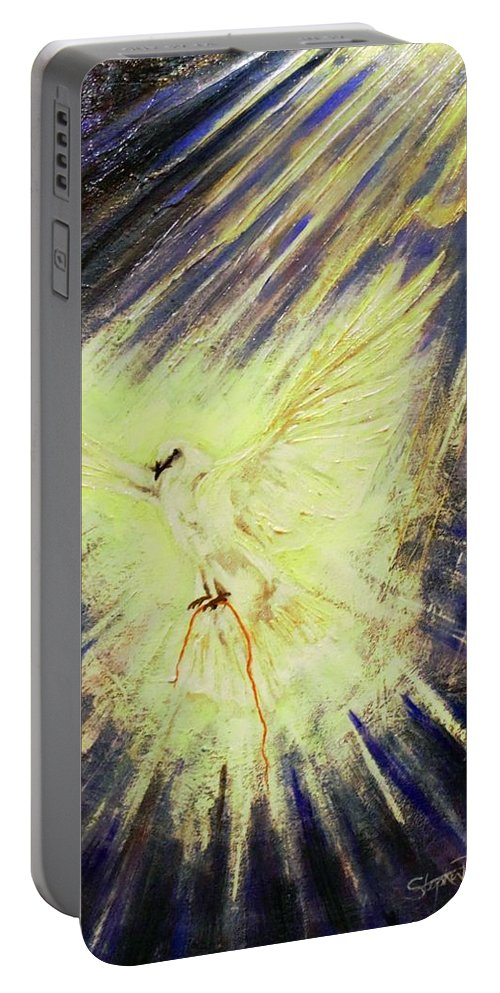 Holy Spirit Portable Battery Charger featuring the painting Holy Spirit by Stephen Broussard