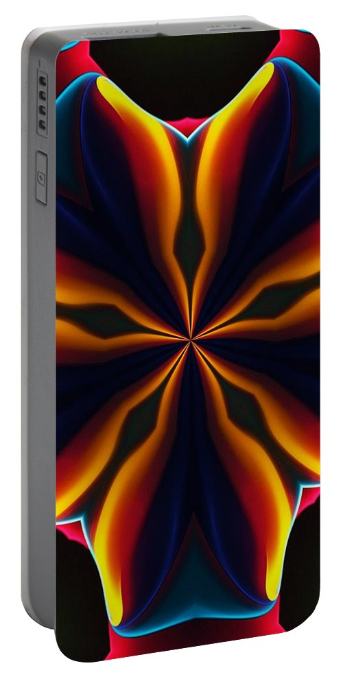 Abstract Portable Battery Charger featuring the digital art Homage to Georgia O'Keeffe by David Lane