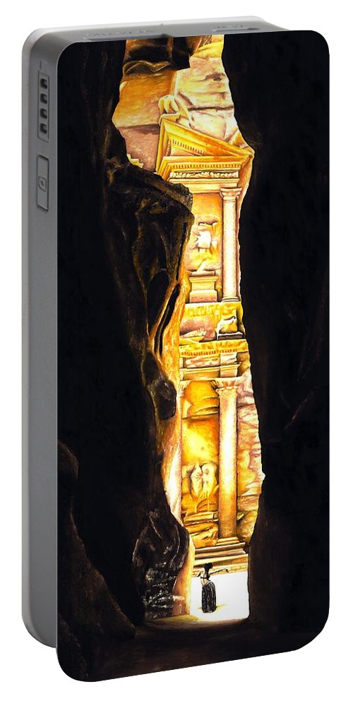 Bellydancer Portable Battery Charger featuring the painting Homage To Petra by Richard Young