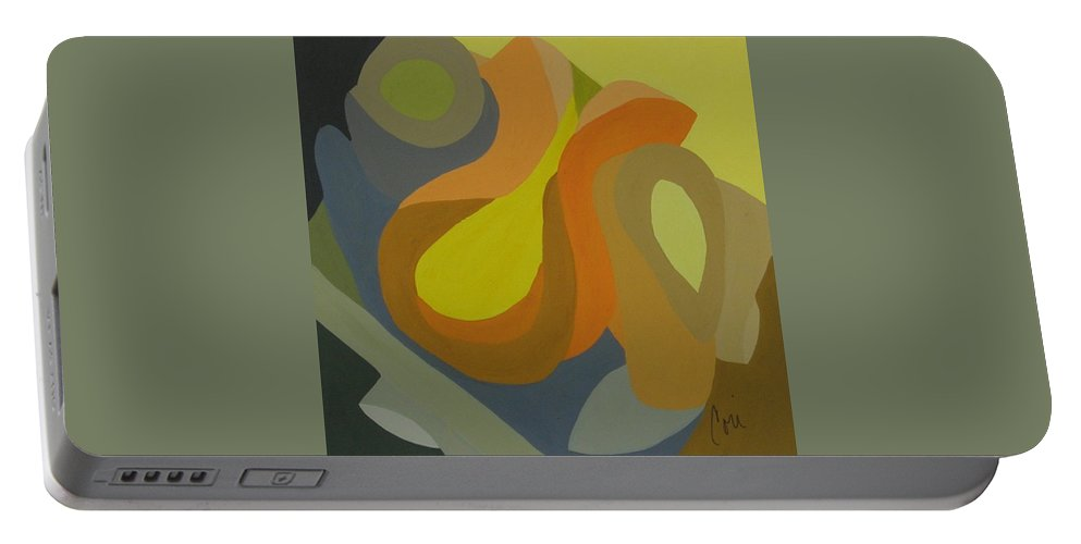 Abstract Portable Battery Charger featuring the painting Homage To The 70's by Cori Solomon