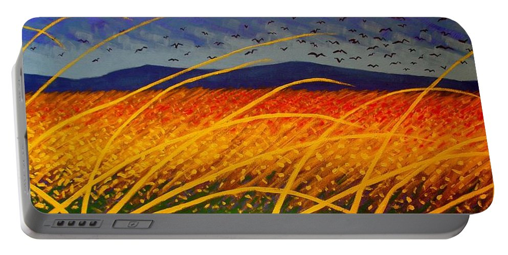 Vincent Van Gogh Portable Battery Charger featuring the painting Homage To Van Gogh by John Nolan